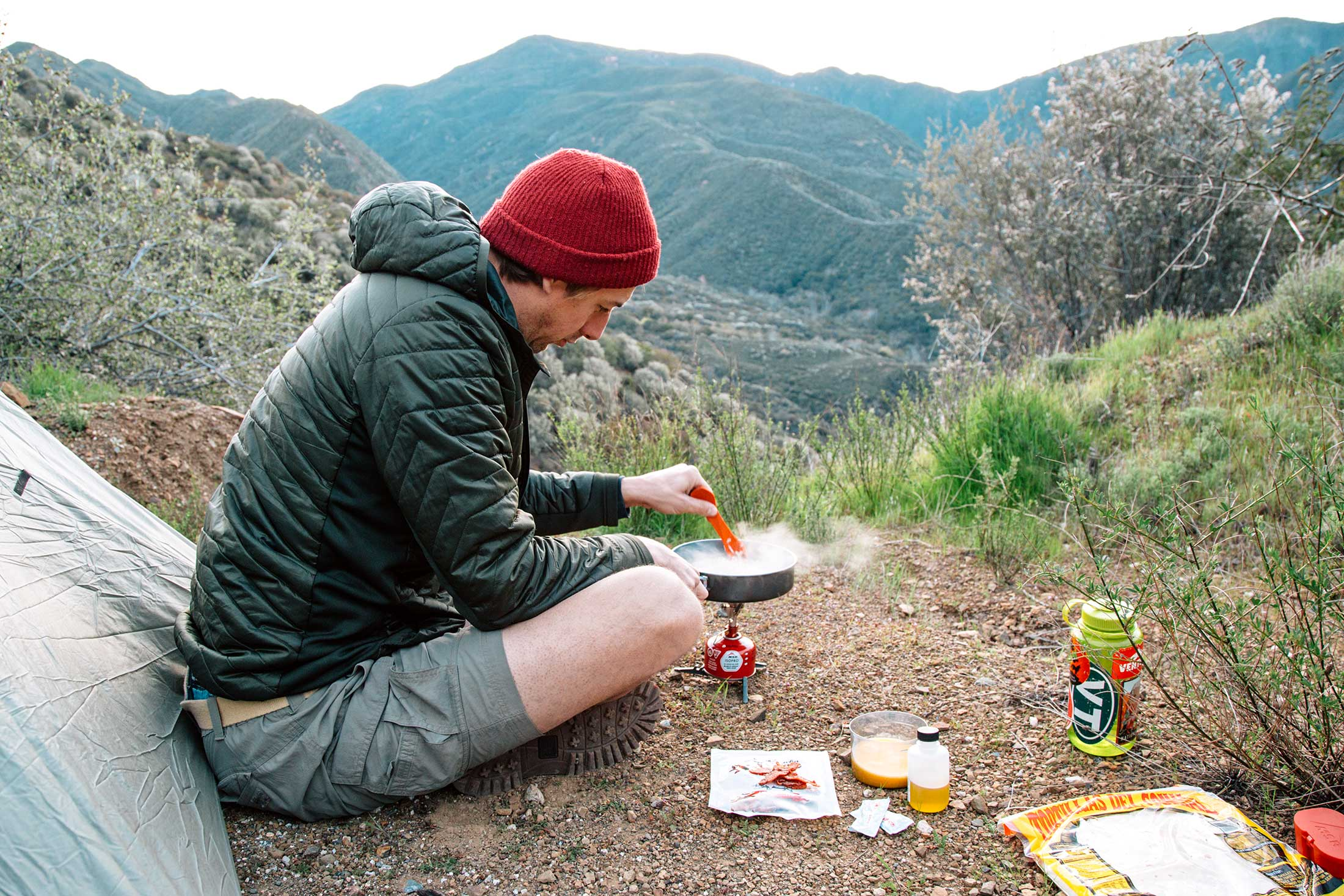 Scrambling eggs for the Backcountry Breakfast Burrito